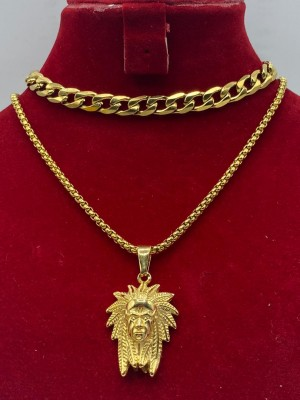 cuban link chain with lion head pendant
