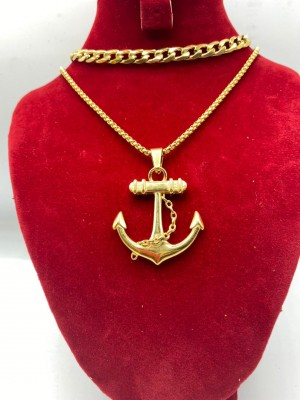 Cuban link Gold necklace with anchor pendant
