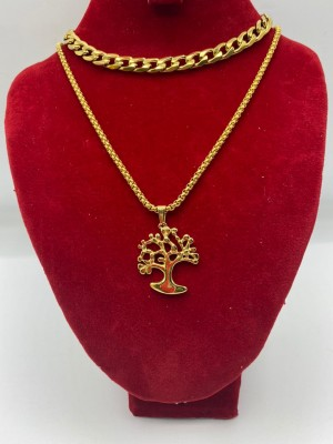 Gold cuban link necklace with tree pendant