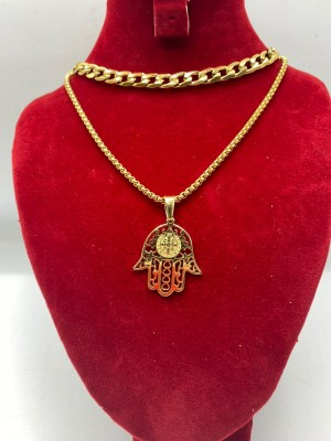 Gold cuban link necklace with hand pendant