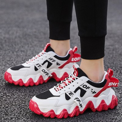 OFF WHITE Men Jogging Sneakers Light Mesh Shoes-White&Red