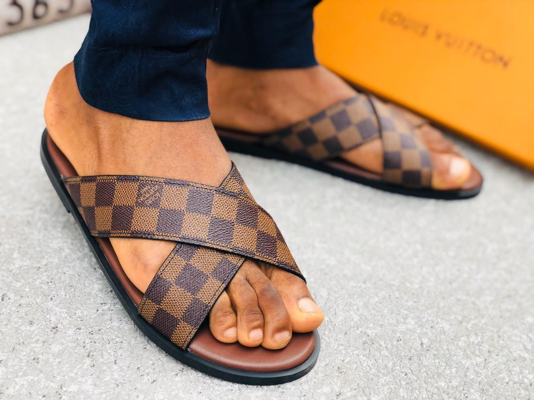 Brown Leather Palm Slippers