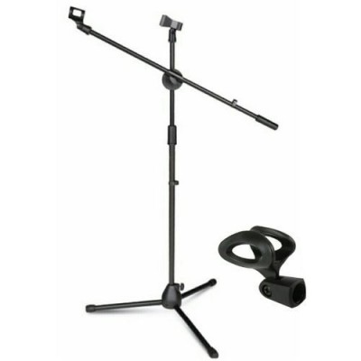 Adjustable Black Microphone Stand With Holder