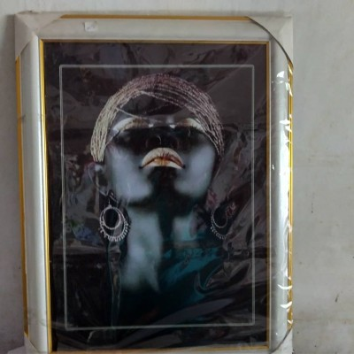 GOLD AND BLACK AFRICAN PAINTING