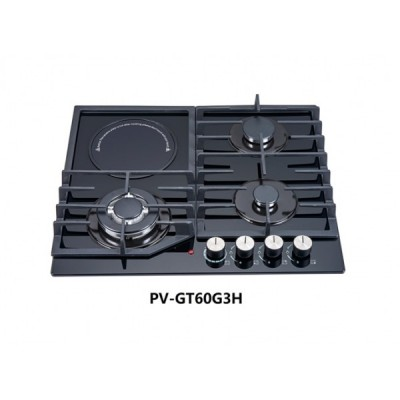 POLYSTAR 8mm Glass Thickness Cooktop, Iron Cast Pan Support, Triple Ring Rapid Work Burn Electric Ignition - PV-GT60G3H