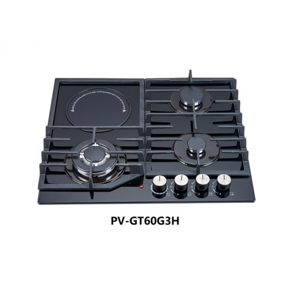 POLYSTAR 8mm Tempered Glass Cooktop, Triple Ring Wok Burner, With Auxiliary Burner - PV-GT60G4