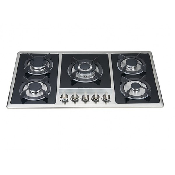 POLYSTAR BLACK TEMPERED GLASS+STAINLESS STEEL WITH 5 BURNERS, HEAVY CAST IRON  SUPPORT, ELECTRIC IGNATION WITH BS PLUG METAL KNOB, STAILESS STEEL WATER TRAY.  -  PV-HBG5802