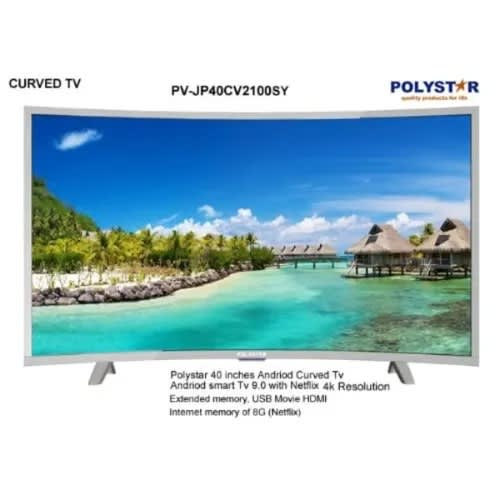 POLYSTAR 40'' CURVE LED SMART ANDROID TV SILVER COLOR.- PV-JP40CV2100SY