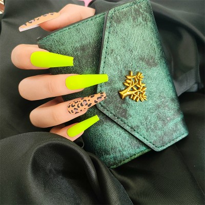press on nails (neon and leopard skin  (24pcs)
